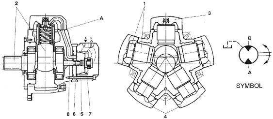 piston hydraulic motor cross section